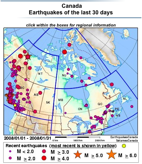 Canada: earthquakes of the last 30 days (map)