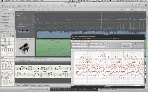 logic with arrange, score, and melodyne windows