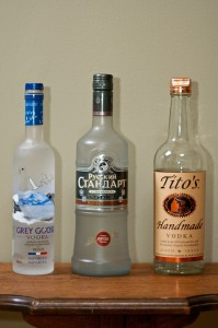 grey goose, russian standard, tito's handmade