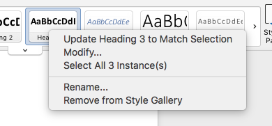 Accessing the dropdown style menu from the ribbon
