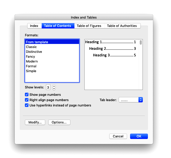 Word's Index and Tables window